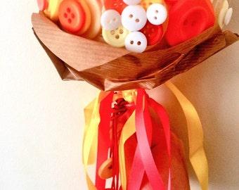 Coral button bouquet.