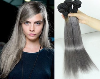 Brazillian gray ombre human hair weft 3pcs/lot straight 1b/gray two tone hair extensions new arrival silver ombre hair weaving