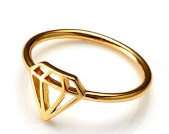 18K gold vermeil diamond shape  ring