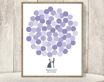 Wedding Guest Book Alternative Sign / Guest Sign In Poster / Purple Balloons, Newlywed Couple ▷ Printable File {or} Printed & Shipped