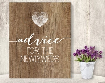 Advice For The Newlyweds // Wedding Advice Sign DIY // Rustic Wood Sign, White Calligraphy Printable PDF, Rustic Poster ▷ Instant Download