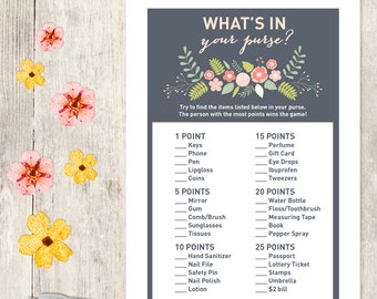 Floral Bridal Shower Game DIY / Coral Pink Flower / What's In Your Purse Printable PDF / Wedding Shower ▷ Instant Download