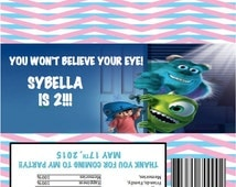 Monsters INC BOO Sully Mike Candy Bar Wrapper birthday Party Favor PERSONALIZED