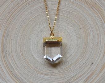 Crystal Quartz Point Necklace, Crystal Quartz Point Pendant, Clear Crystal Quartz Point Pendant, Clear Crystal Quartz Point Necklace
