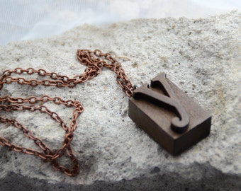 Letterpress, Initial, Letter Necklace, Wood