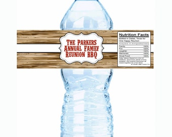 """20 Wood Pumpkin Family Reunion Water Bottle Labels- Select the quantity you need below in the """"Pricing & Quantity"""" option tab"""