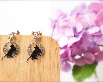 Moon Cat Earrings, black cat, black cat jewelry, cat accessory, black cat and silver full moon