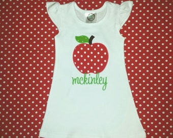 Back to School Apple Applique Dress with Monogram, Back to School Outfit, Apple Applique, Monogrammed Back to School Dress
