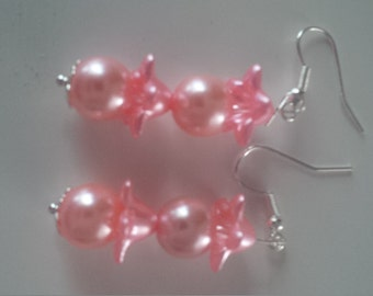 Pink Beaded Earrings   (#284)
