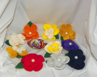 Fleece Flower Brooch/Pin
