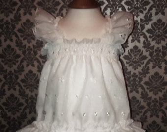 ALL Sizes 29 GBP Adult Baby Sissy Short Dress / Top in White Broderie Anglais frilly