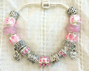 Antique Tibetan Silver Plated Light Pink Rhinestone Hearts Glass Charms Beads Bracelet 7.5 Inches