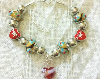 Mom Red Heart Charm Glass Lampwork Yellow Beads Silver Plated Bracelet 7-9 Inches Adjustable