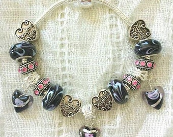 Daughter Black Lampwork Heart Charms Glass Beads Silver Plated Bracelet 7.5 Inches