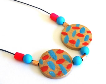 Handpainted Timber, Copper And Neon Beaded Necklace-80's Design