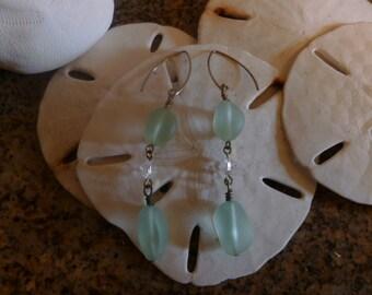 Translucent Sea Foam Sea Glass Aurora Borealis Crystal Silver Drop Earrings