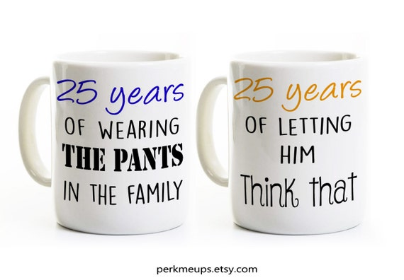 Funny His And Her Wedding Gifts : 25th Anniversary Gift - Couples Coffee Mugs Cups - His and Hers Coffee ...