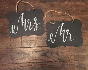 """Wedding Chair Signs """"Mr."""" And """"Mrs."""""""