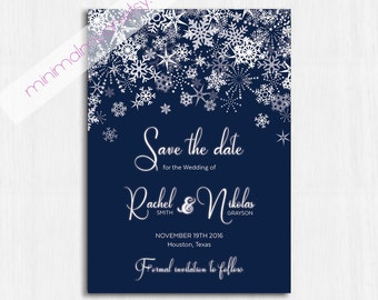 Winter Save the date, navy, Printable Wedding invitation, Winter save the date, Snow wedding, winter party, winter invitation, snowflakes