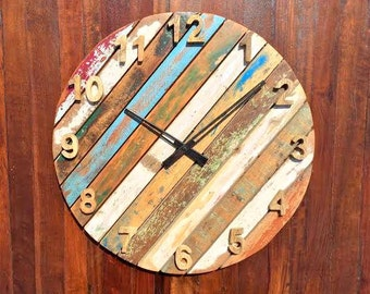 Rustic & Antique Round Wall Clock of Reclaimed Wood