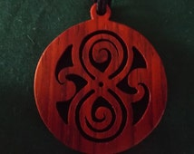 Doctor Who Pendant, Gallifrey Necklace, Whovian Jewelry, Deep Red Exotic Wood Pendant,  Gallifreyan Gift