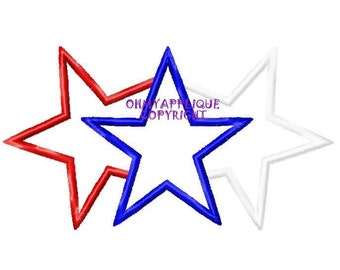 Patriotic 3 Star Design Embroidery Applique Design
