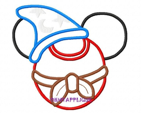 Character Applique Design : Character inspired mouse sorcerer embroidery applique design