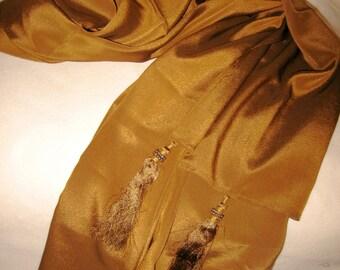 India Silk Shawl, Silk Scarf, Silk Wrap, Fringed Scarf, Fringed Shawl, Fringed Wrap, Tassled Scarf, Tassled Wrap, Tassled Shawl