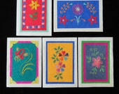 Handmade embroidered note cards from Nepal on artisan paper-5 card