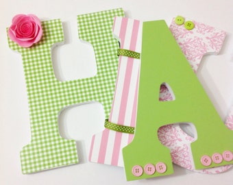 Pink and Green Girls Custom Nursery Letters, Wall Hanging Nursery Letters, Girl Nursery Letters