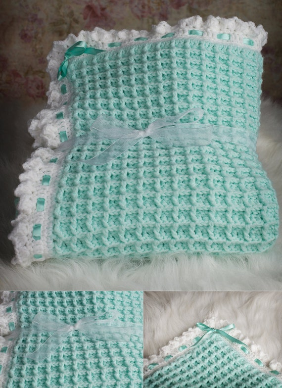 Green Baby Blanket ,Crochet Waffle Stitch, blanket with ribbon, baby ...