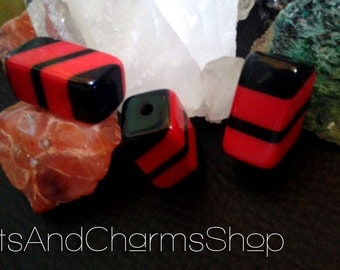 Red Black Acrylic Beads, rectangular, length 20mm and 10mm thick
