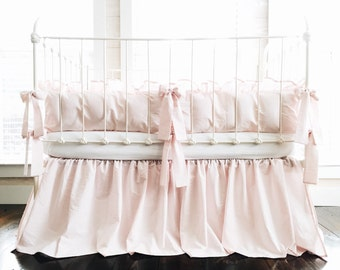 Farmhouse Basic 100% Washed Cotton Baby Pink Nursery Bedding