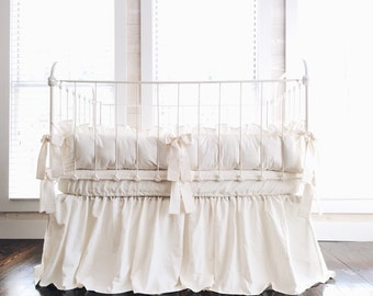 Farmhouse Ruffled Style 100% Washed Cotton Crib Bedding in Ivory and 2 Ivory Fitted Crib Sheets