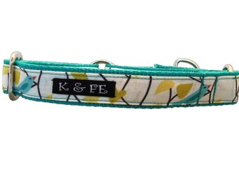 Blue Birdie Martingale Dog Collar