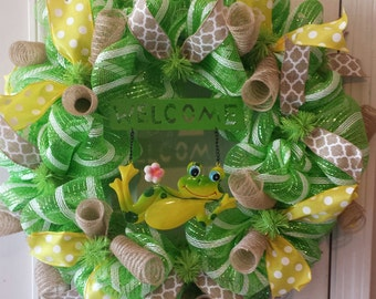 Spring/Summer Frog Welcome Wreath.  24 inch deco mesh, burlap and ribbons.