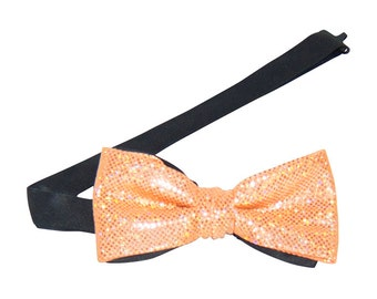 Orange Sparkling Banded Bow Tie
