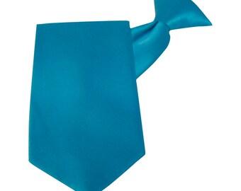 Turquoise Tie Satin Clip-On Straight Tie