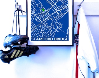 CHELSEA Stamford Bridge, street map, art poster A3 print. CFC The Blues, Pensioners. Unique to my store