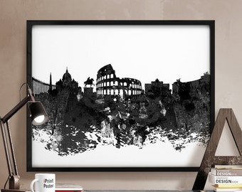 Rome black & white poster, Rome print, Rome Italy cityscape, Rome skyline, Rome abstract, Art, City Illustration, wall art, home decor, gift