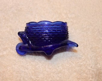 Cobalt Blue glass wheelbarrow toothpick holder vintage