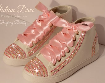 Shoes Sleeping Beauty in pink Swarovski base model converse style for brides and not