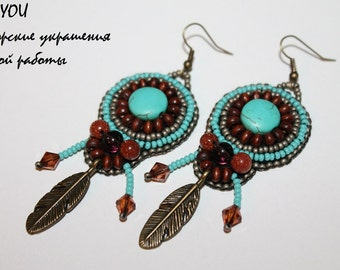 Turquoise Ethnic Earrings. Beaded earrings. Beadwork tribal earrings. Beaded wooden earrings.