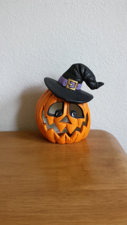 Ceramic Pumpkin With Witch Hat 176