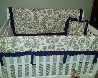 Baby girl bedding purple & gray
