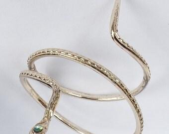Vintage Silver Tone Egyptian Revival Serpent Snake Bracelet