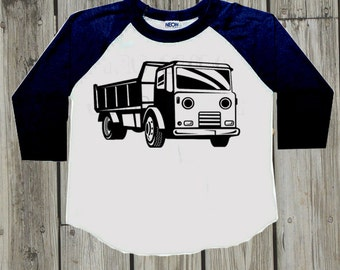 Boys clothes. Baby boy clothes. Dump Truck shirt. Toddler boy raglan tee. Trendy baby boy clothes. Toddler clothing. Kids Long sleeve shirt