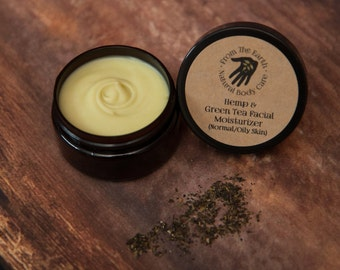 Hemp and Green Tea Facial Moisturizer - all natural, organic skin care, antioxidant, non-comedogenic, vegan, combination, blemish prone