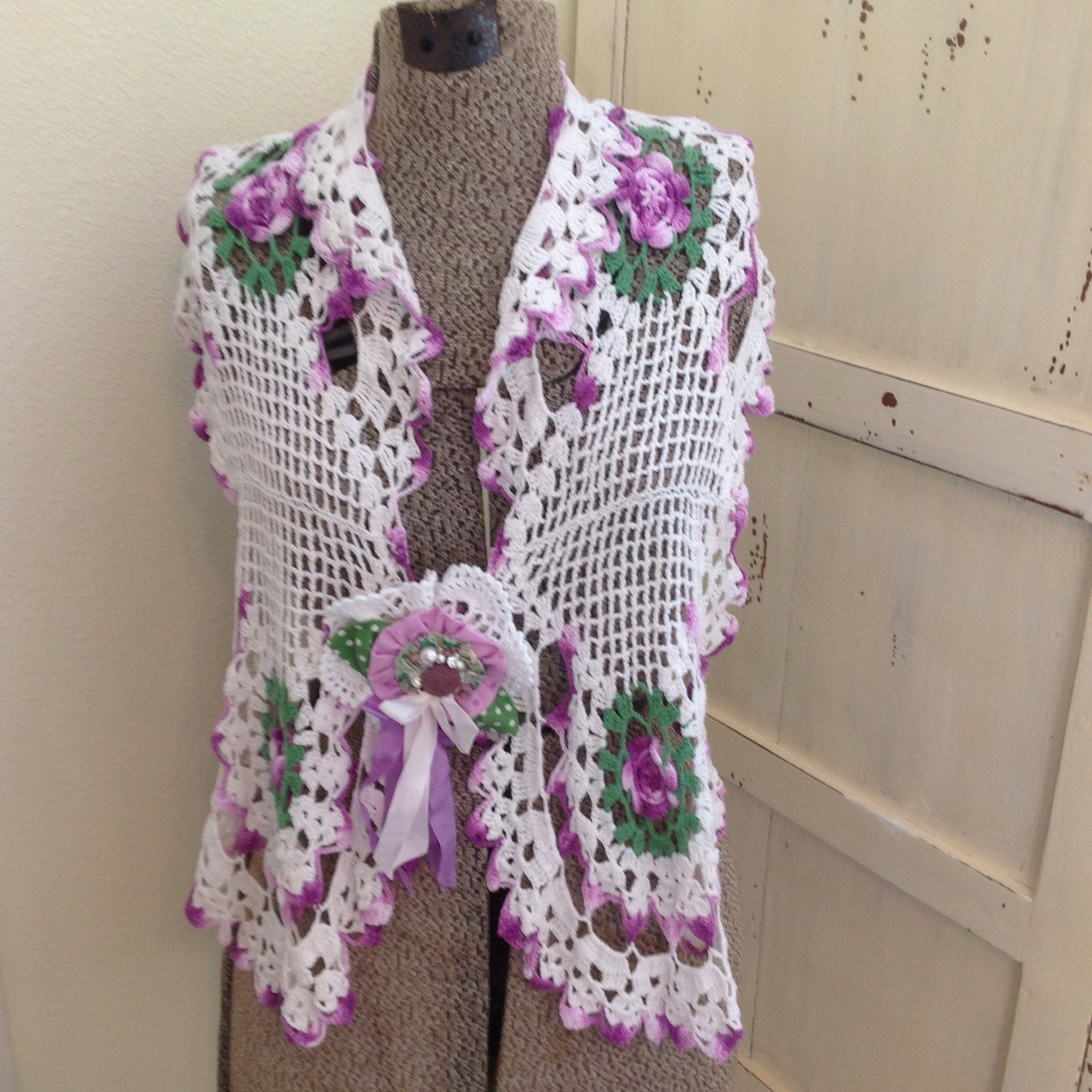 vintage crocheted dresser scarf upcycled by
