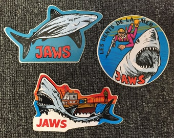 Rare 1975 Set Of 3 JAWS Stickers From France! ORCA Boat! Shark!